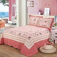 100 %コットン3ピースステッチリバーシブルパッチワークキルト風Throw and Quilted Bedspreadsキルトセットクイーン、ピンク