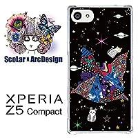 スカラー scr50314 スマホケース スマホカバー SO-02H ソニー SONY XPERIA Z5 Compact エクスペリア 宇宙柄 ネコシルエット パンダ かわいいデザイン ファッションブランド