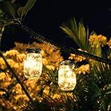 メイソンジャー風ソーラーライト 夜間自動点灯LEDライト 防水IP65 お庭や芝生をオシャレに演出 ガーデニングやアウトドアに最適 単4形乾電池対応 オリジナル日本語説明書付き SUPERPETER (二個セット)