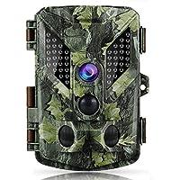 トレイルカメラ 監視カメラ 自動防犯カメラ,Coolife 1600万画素 赤外線LEDライト48搭載 人感センサー 働き検知 SDカード録画 1080P IP67防水仕様 野外防犯カメラ 野生動物調査 日本語説明書