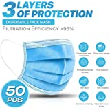 [50-Pieces] 3-Ply Disposable Procedural Face Mask Mouth Cover for Personal or Commercial