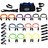 Bodylastics Resistance Bands Sets with Free Online Workouts. Patented Anti-Snap 12pcs, 14pcs, 19pcs and 31pcs Kits with Upgra