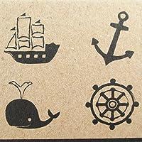 NP Crafts 4KidsラバースタンプアンカースクラップブックStamper Nautical Marine Ocean Whale Seaホイール出荷高品質