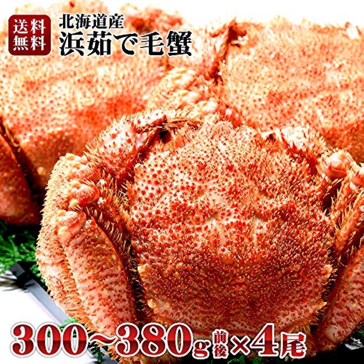 エミュレーション彼女のあらゆる種類の北海道産 毛蟹 300~380g × 4尾 浜茹で 毛ガニ ボイル 毛がに カニ味噌