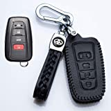 Hey Kaulor Suit for Toyota Genuine Leather Remote Key Fob Case Cover Protector with Key Chain for 2019 Toyota Corolla Hatchba