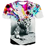 メンズ Tシャツ Tシャツ メンズ レディース 3Dプリント YOKINO 夏半袖Tシャツ 男女兼用 デザイン ファション カジュアル 創意デザイン おもしろ 3Dプリント V系 カジュアル トップス (XXXXL, ホワイト01)
