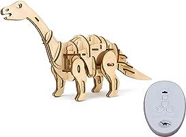 ROBOTIME 動く木製パズル アパトサウルス APATOSAURUS 音声制御 光制御あり レーザーカット 日本語訳説明書付き 79ピース 約400×110×210mm D420