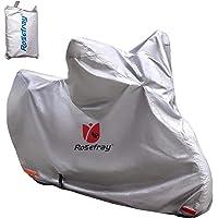 Rosefray バイク カバー 3L-4L 240cmまで対応 スマートサイズ 高機能 撥水 UVカット 210D 厚手 バイクカバー 大型 車体カバー 収納バッグ付( シルバー)