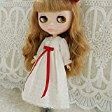 (ドーリア)Dollia ブライス 1/6ドール用 アウトフィット レトロ ベージュ ホワイト ドレス ワンピース 赤リボン ネオブライス ドール 人形 (¥ 3,500)