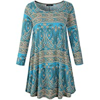 Veranee Women's Plus Size Swing Tunic Top 3/4 Sleeve Floral Flare T-Shirt