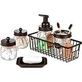 Mason Jar Bathroom Accessories Set(6PCS) - Foaming Soap Dispenser,Toothbrush Holder,Qtip Holder,Apothecary Jars, Soap Dish,Me
