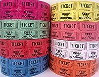Ticket Guru 抽選券抽選券 (2000枚のダブルチケットのロール4つ) 合計8000枚 50/50 の抽選券 (以下から色の組み合わせをお選びください)
