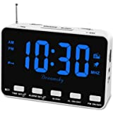 DreamSky Radio Alarm Clock for Bedroom - Small Digital Clock with USB Port, Outlet Powered with Battery Backup, 0-100% Dimmab