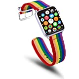 TinaWood Rainbow Wristband Watch Strap Comfortable Denim Fabric Band Compatible for Apple Watch iWatch Series 4/3/2/1(Rainbow