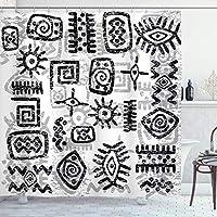 Amxxy 古代アフリカのシンボルスタイルの幾何学的なエスニックパターンスタイルアートバスルームシャワーカーテンバスルームシャワーホテルの耐久性と掃除が簡単な防水生地