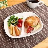 『強化磁器』仕切りランチプレート【洋食器・白い食器・アウトレット・多治見美濃焼・日本製】