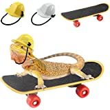 Vehomy Small Pet Engineer Hat Bearded Dragon Lizard Construction Helmet Hats and Mini Scooter for Hamster Lizard Parrot Repti