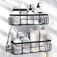 浴室用ラック 強力粘着固定 お風呂の壁に ステンレス シャワーラック 水切り 風呂場洗面所収納壁掛け棚 収納ラック 2段…