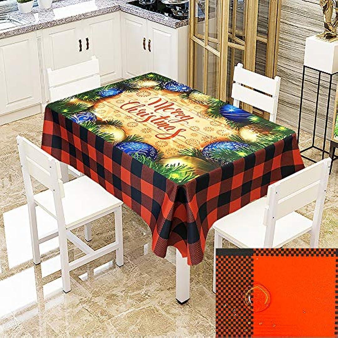 外部懺悔楕円形クリスマスデコレーションポリエステル テーブルクロス, プリント長方形 テーブルカバー 防水 キッチン 食卓カバー クリスマスシーン 家の装飾のためのクリスマスパーティーのため
