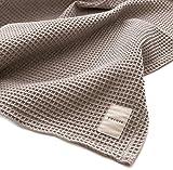 yucuss ワッフル ケット じっくり織り上げた 綿100% シングル グレー 55440113