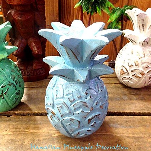 RoomClip商品情報 - HAWAIIAN Pineapple Decoration パイナップルデコレーションオーナメント(ブルー)【置物、ハワイアン雑貨、飾り、木彫り、インテリア雑貨】