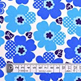 ノルディックフラワー・ブルー ツイル生地 花柄 ハンドメイド 手作り用生地 0.5m単位でご注文いただけます。 T0061600