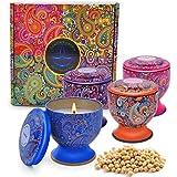 Enamorare Scented Candles Natural Soy Wax Portable Travel 4 Oz Tin Candles Gift Set of 4 hamflower Vanilla,Jasmine,Green Tea&