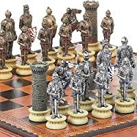 Medieval Chessmen & Marcello Chess & Checkers Board from Italy by