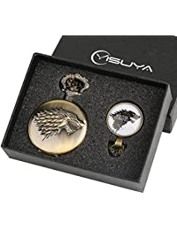 Pocket Watch for BoyメンズGame of Thrones winter is comingポケットウォッチギフトセットレトロブロンズCool 3d Wolf Clan Fob Watches withガラスドームペンダントネックレス