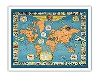 世界の有名な飛行機と航空路 - チャールズ リンドバーグ - パン・アメリカン航空(PAA) - ユナイテッド航空 - ビンテージな航空会社のポスター c.1937 - アートポスター - 28cm x 36cm