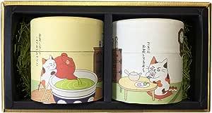 お茶 ギフト セット 猫茶 和紙缶 可愛い プレゼント 掛川茶 川根茶 茶葉 詰め合わせ 深蒸し茶 みたらしちゃん