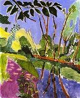 手描き-キャンバスの油絵 - 美術大学の先生直筆 - The Bank アンリ・マティス 木 森とジャングル 2 - 芸術 作品 絵画 洋画 -サイズ06