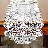 YHDD テーブルフラグ抽象的な手作りアートのトップデコレーション、手縫いの長方形のレースサイドテーブルクロス、古典的な花柄