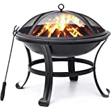 KINGSO Fire Pit, 22'' Fire Pits Outdoor Wood Burning Steel BBQ Grill Firepit Bowl with Mesh Spark Screen Cover Log Grate Wood