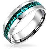 Couples Channel Set Crystal Eternity Band Ring for Women Men Teen Silver Toned Stainless Steel Birth Month Colors 6MM Sizes 5