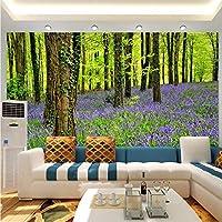 Xbwy 3D壁の壁画壁紙自然の風景紫色の花と森大Hd壁画寝具ルームテレビの背景壁の家の装飾-150X120Cm