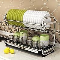 2層キッチンシェルフダブル排水皿ラック壁掛け食器ラックカトラリー配置食器収納ラック201ステンレス鋼57×25×38 cm