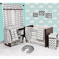 Bacati Grey Ikat Chevron Muslin 10 Piece Crib Set with Bumper Pad [並行輸入品]