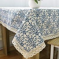 テーブルクロス、古典的なテーブルクロス、新鮮な綿布製カバー、タッセル付きの長方形のコーヒーテーブルクロス, 100x140cm