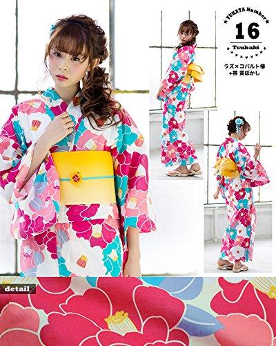 [ 京都きもの町 ] レディース浴衣 2点セット3,980円 全16柄と帯の2点セット F 16ラズ×コバルト椿+帯黄