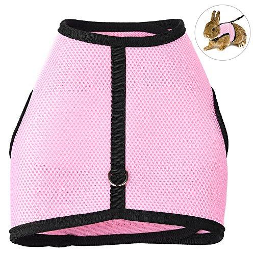 Petacc ウサギ 猫 ハーネス 伸縮 リード 調整可能 通気性良い 小動物用 お散歩 お出かけ用ハーネス (L)