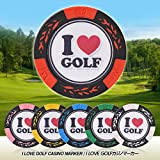 I LOVE GOLF カジノチップマーカー(おもしろ キャラクター ゴルフマーカー)[カジノマーカー][ ゴルフ コンペ 景品 ゴルフ用品 グッズ ギフト プレゼント]