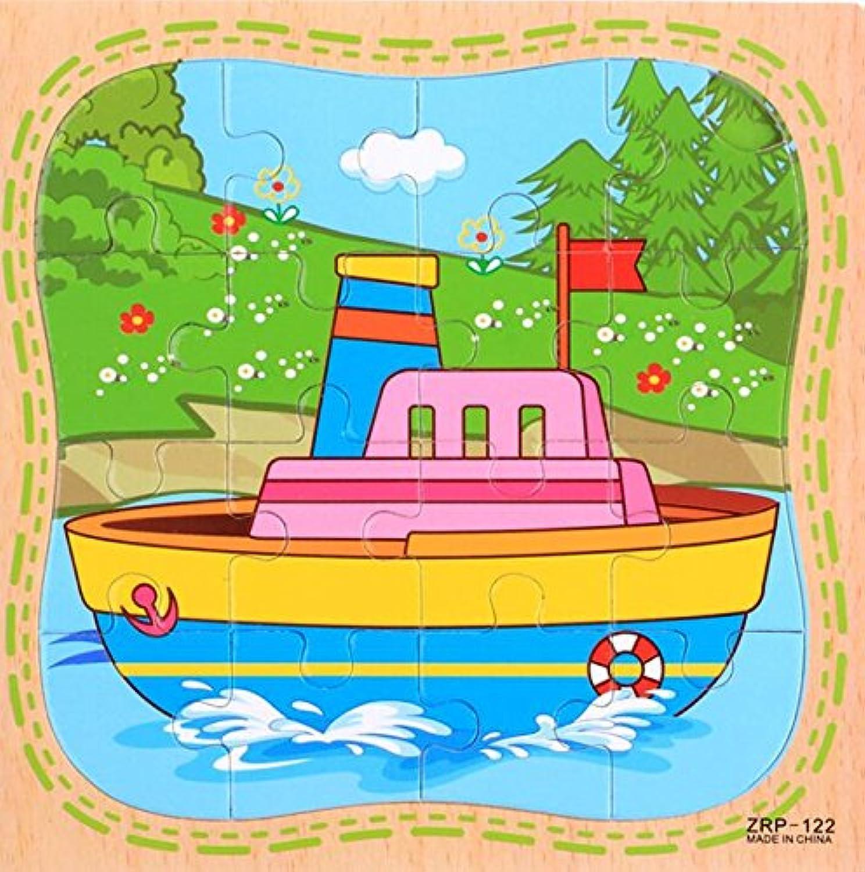 HuaQingPiJu-JP 創造的な木製の教育的なパズルアーリーラーニングの数字の形の色の動物のおもちゃ子供のための素晴らしいギフト(船)