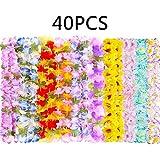 40個セット ハワイアン ルアウ レイス ネックレス - トロピカル ティキ ハイビスカスの花/夏のプールパーティーの景品 補給品 飾り Hawaiian leis マルチカラー MB-HL0712