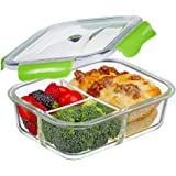 Premium Quality 3 Compartment Glass Lunch box/Food Storage Containers - Meal Prep Glass Containers - Reusable Microwave ,Oven