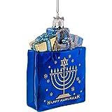 """Kurt Adler 4"""" Noble Gems Happy Hanukkah Glass Gift Bag Ornament"""