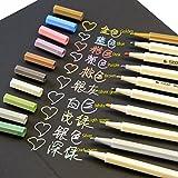 Butterme メタリック マーカーペン ,カラーペンセットfor カード製作 ,DIYフォトアルバム ,手帳ページ ,メッセージカード 10色