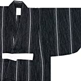 (キョウエツ) KYOETSU ボーイズ浴衣 しじら 綿麻生地 110-150cm 単品 (110cm, 変わり縞×黒)