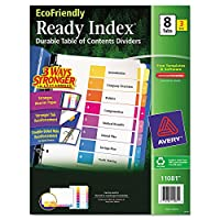 EcoFriendly Ready Index Table of Contents Divider, Multicolor 1-8, Letter, 3/PK (並行輸入品)