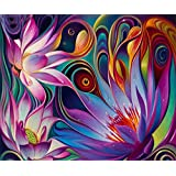 5D DIY Diamond Painting, Embroidery Painting Wall Sticker for Wall Decor Full Drill - Lotus 12 x 16inch